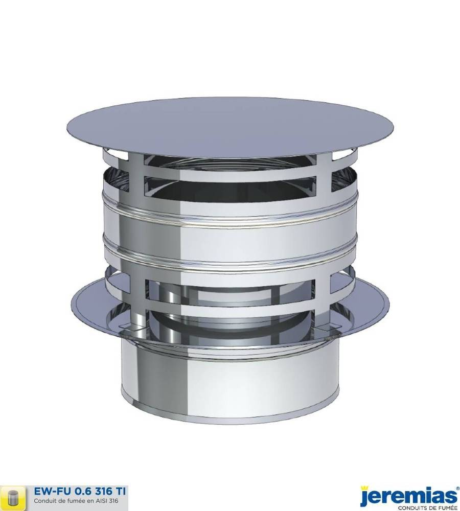 CHAPEAU ANTI PLUIE AVEC PROTECTION VENT - INOX 316 à 50,00€ fabriqué par JEREMIAS